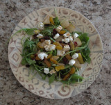 Arugula, Pear, and Goat Cheese Salad with Pomegranate Dressing