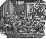 Wilfred Bailey, my grandfather in a band 1918 date uncertain_backrow_3rd from right with trumpet,