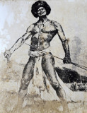 Old engraving of a warrior - Tavuni