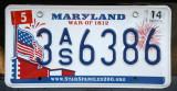 Maryland License Plate - Spar Spangled Banner, War of 1812