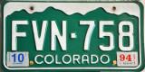 Colorado Licence Plate FVN-758