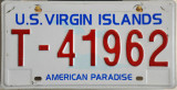 US Virgin Island License Plate