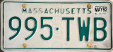 My old Massachusetts License Plate