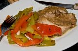 roasted pork loin and roasted peppers