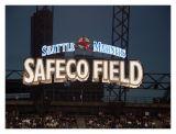 The Safeco Field Sign Lights Up at Dusk