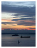 Ships at Anchor as the Sun Sets Over Elliot Bay and the Olympic Mountains
