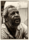 Aboriginal man at Quay in mono