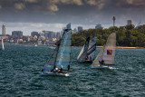 18 foot skiff race on Sydney Harbour