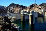 Hoover Dam  Spillway, Lake Mead, Hoover Dam Bypass Bridge, Black Canyon, Nevada