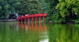 The Huc Bridge, Hoan Kiem Lake, Ngoc Son Temple, Hanoi, Vietnam