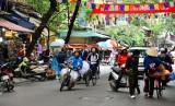 crowded Hang Dau street, Hanoi Old Quarter, Hanoi, Vietnam