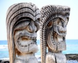 statues, Place of Refuge, Kona,  Hawaii