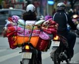 blankets on scooter, Hanoi, Vietnam