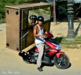 large chest on scooter, Au Co road, Huong Phuoc, Vietnam