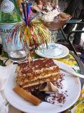 My tiramisu cake with usual ribbon fireworks