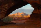 Mountain view through a hole