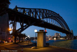 Sydney Harbour Bridge at twilight from the south eastern end