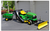 Here is everything...tractor, grass catcher, wagon and plow!!!