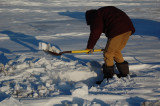 shoveling out the meter hole