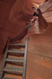 Coming down the ladder in Lower Antelope