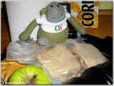 Chimp makes the packed lunch for school