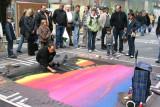 Artista Realizando su Obra en la Zona Peatonal