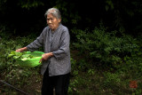 Elderly lady with vegetables, Xing Ping, GuangXi, China.