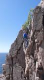 CC climbing at the seaside