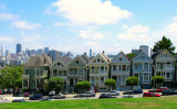 Victorian Houses the Seven Sisters. Alamo Park in San Francisco California USA