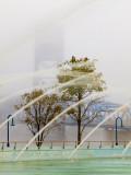 Fountain, Bridge, and Fog