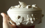 Cream Pinecown Lidded Bowl