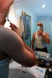 Tony shaves