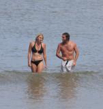April and Leo at the beach in La Barra