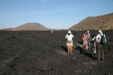 walking on black solidified lava flow circa 100 years old