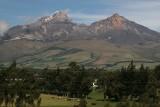 Illiniza, a dormant volcano, consists of two snow covered peaks: Illiniza Sur (5,248 m) and Illiniza Norte (5,126 m)