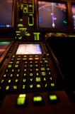 Right CDU, Nav Display, Landing Gear Lever B777
