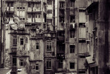The backside of buildings in Central Hong Kong