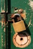 Gold door brand lock.