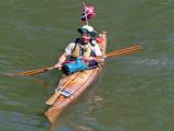 View from Euclid Ave. bridge, John in his beautiful and durable cedar strip kayak