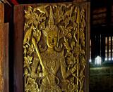 Carved wooden door, close up