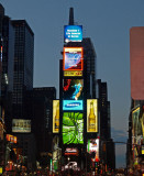 Father Duffy Square tower, at night