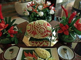Carved fruit and vegetables