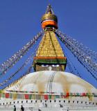Bodhnath Stupa with Tibetan prayer flags