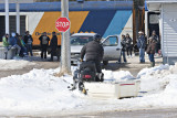 Snowmobile coming to Moosonee station 2009 April 14