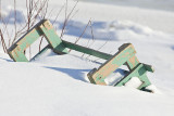 Taxi boat bench inverted in the snow