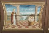 Détail des peintures du toit de l'entrée de l'église baroque de Combloux,