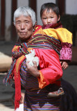 Old woman and child, Black-necked Crane Festival