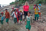 Tagaung kids escort us to the Pandaw II