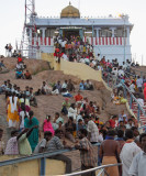 Crowds enjoying the evening cool at Rock Fort Temple