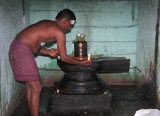 Brahmin priest making lingam offering
